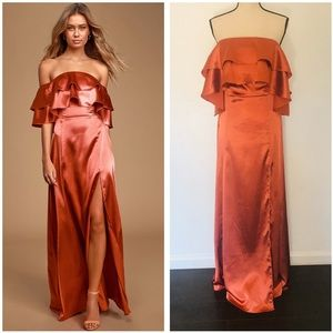 Lulus Pure Happiness Rust Orange Satin Maxi Dress